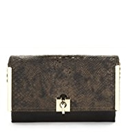 M&S Collection Faux Snakeskin Design Clutch Bag