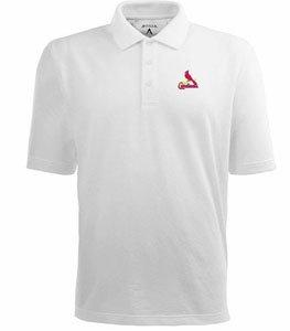 St Louis Cardinals Classic Pique Xtra Lite Polo Shirt (White) - XXX-Large by Antigua