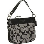 Coach Signature Zoe Convertiable Shoulder Hobo Bag 14708 Black White
