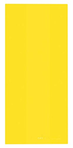 "Amscan Festive Large Cellophane Party Bags, 11-1/2 x 5 x 3-1/4"", Yellow Sunshine"