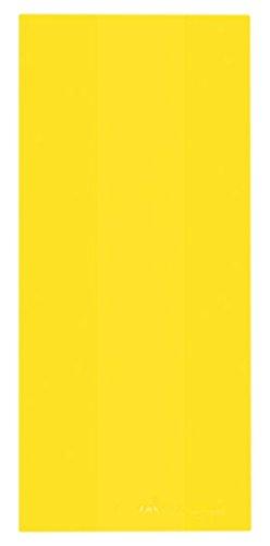 "Amscan Festive Large Cellophane Party Bags, 11-1/2 x 5 x 3-1/4"", Yellow Sunshine"