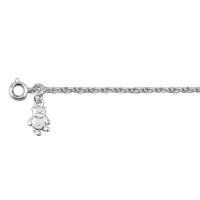 Childrens Sterling Silver Teddy Bear Winnie 16 cm Curb Chain Bracelet
