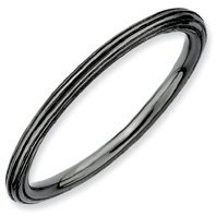 Faithful Silver Stackable Black Step Down Ring. Sizes 5-10 Available