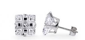 .925 Silver Princess Invisible Cut Simulated Diamond 1.50ct Stud Earrings