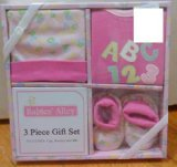 3-piece Gift Set Babies' Alley Cap, Booties and Bib ABC (Pink) Size 0 - 6 Months