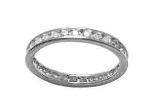 Size 8 1/2 Eternity Channel Cubic Zirconia Band 14k White Gold Ring