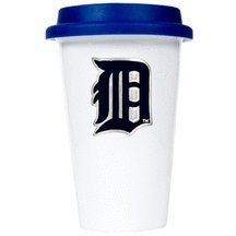Mlb Detroit Tigers Double Wall Tumbler With Blue Silicone Lid, 12-Ounce