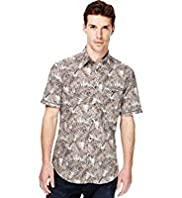 Autograph Slim Fit Pure Cotton Palm Print Shirt