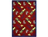 "Joy Carpets Playful Patterns Children's Hook and Ladder Area Rug, Red, 5'4"" x 7'8"""