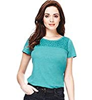 Petite Linen Blend Floral Lace Yoke Top