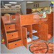 Berg Furniture Sierra Captain's Bed with Storage Drawers, Cabinet & Stairs