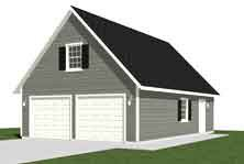 Garage plans 2 car with loft 1224 1 24 39 x 34 39 two for Cost to build a two car garage with loft