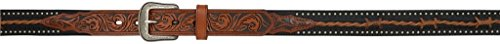 3-D Belt for Boys Tooled Brown and Black with Barbed Wire (24)