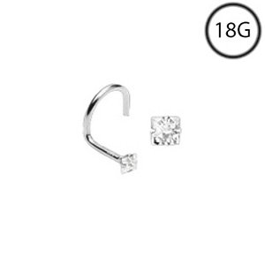 14Kt White Gold Nose Screw Ring 2Mm Clear Diamond Square Cz 18G Free Nose Ring Backing