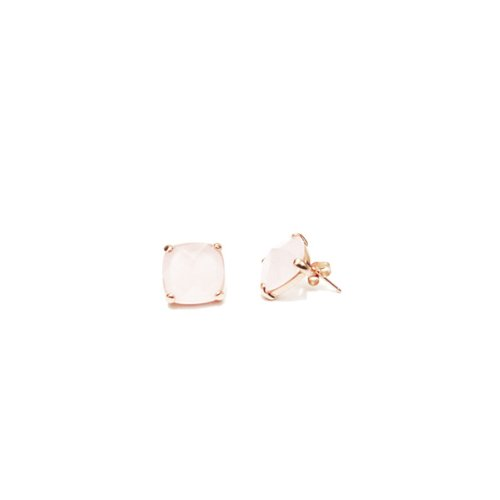 apop nyc 18k Rose Gold Vermeil Rose Quartz Stud Earrings