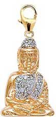 Yellow Gold Buddha Diamond Charm 14K