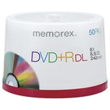 Memorex 05732 Dual-Layer DVD+R Discs, 8.5 GB, 50/Pk