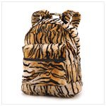 Animal Tiger Print Plush Fabric Backpack School Bag from Furniture Creations