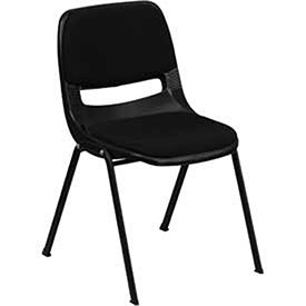 Ergonomic Shell Stack Chair W/Padded Seat & Back, Black, Plastic - Lot of 4