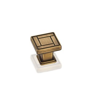 Jeffrey Alexander 1-1/8'' Overall Length Zinc Die Cast Arts & Crafts Cabinet Knob. Packaged with one 8/32'' X 1-1/8'' screw. Finish: Antique Brushed Satin Brass.