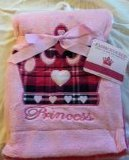 "Embroidered ""Crown Pink Plaid"" Soft Plush Reversible Blanket"
