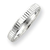 Sterling Silver 3.5mm Diamond-cut Band Ring - Size 11 - JewelryWeb