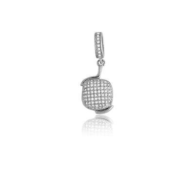 New Fashion Necklace Pendant Jewelry 925 Sterling Silver Brilliant Micro Pave Puffed Square Design(WoW !With Purchase Over $50 Receive A Marcrame Bracelet Free)