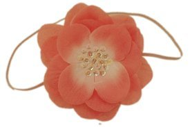 Baby Flower Headband. Stretchy for Infant, Toddler, Girl. Skinny Headband. Emerson Coral.