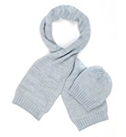 M&S Collection Metallic Effect Knitted Scarf & Hat Set