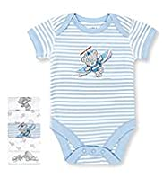 5 Pack Pure Cotton Tatty Teddy & Plane Print Bodysuits