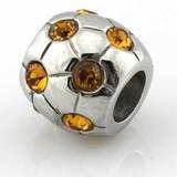 HEIRLOOM Citrine Birthstone Bead Water Proof, Tarnish free fits Pandora by Island Imports And More