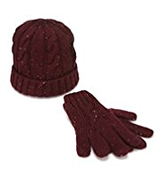Flecked Cable Knit Hat & Gloves Set with Wool