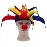 Halloween Masquerade Props Hair Accessory Colorful Clown Hat Carnival Circus Party Jester Hat with Bells Football Fans Headwear