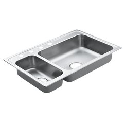 Moen 22823 Excalibur 4 Hole Stainless Steel 22 Gauge Double Bowl Drop In Sink, Stainless
