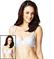 2 Pack Cotton Rich Embroidery Underwired B-DD Bras