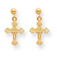 Sardelli - 14kt Gold Polished Patterned Cross Dangle Post Earrings