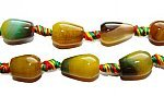 Agate pear-shaped beads (10x14mm, 17 beads, yellow with green)
