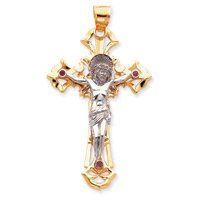 14k Two-tone Polished with Red CZs Crucifix Pendant - Measures 58.6x102.7mm - JewelryWeb