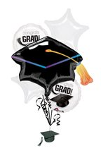 White Congrats Grad Balloon Bouquet