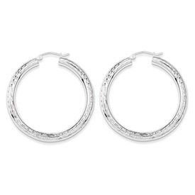 Genuine IceCarats Designer Jewelry Gift Sterling Silver Rhodium-Plated 4.00Mm Diamond-Cut Hoop Earrings
