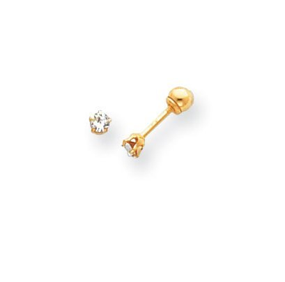 14K Yellow Gold 3mm CZ Earrings with safety backs