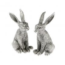 High quality, hares salt and pepper pots, in polished pewter, from the 'in the country' range by 'Orchid Designs'. A classic tablewear gift for country sports enthusiasts, and lovers of wildlife (DP027). by Fitting Gifts