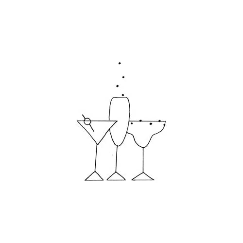 Penny Black Rubber Stamp 1.75X2 Cocktails; 3 Items/Order