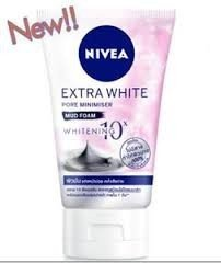 NIVEA EXTRA WHITE PORE MINIMISER MUD FOAM WHITENING 10X FOR OILY SKIN 100 g. From Thailand (Nivea Extra White Mud Foam compare prices)