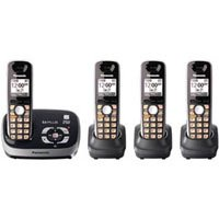 Panasonic KX-TG6534B DECT 6.0 PLUS Expandable Digital Cordless Phone and Answering System with 4 Handsets (Black)