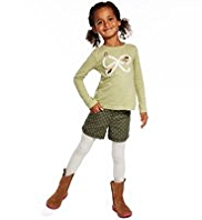 3 Piece Cotton Rich T-Shirt, Adjustable Waist Spotted Shorts & Tights Outfit
