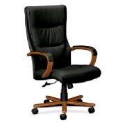 HON HVL844 Executive Chair, Bourbon Cherry Frame, Black Leather for Office or Computer Desk