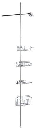 Zenith Bathstyles Tension Pole Shower Caddy, Satin Nickel front-342624