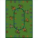 "Joy Carpets Kid Essentials Early Childhood Monkey Business Rug, Green, 5'4"" x 7'8"""