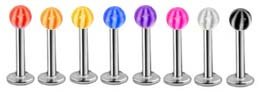 8 Stripe beach ball Bright Uv ball Labret Monroe lip targus body jewelry piercing bar Ring Rings 16g